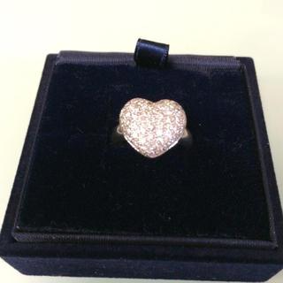 ジュエリーツツミ(JEWELRY TSUTSUMI)の100%本物18k ホワイトゴールド ダイアモンド 大きいハートの指輪(リング(指輪))