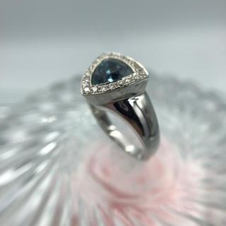 K18WG ブルートルマリン ダイヤモンド リング 19-4010(リング(指輪))