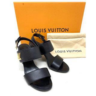ルイヴィトン(LOUIS VUITTON)のLOUIS VUITTON☆ サンダル ヒール ツイスト ブラック ゴールド(サンダル)