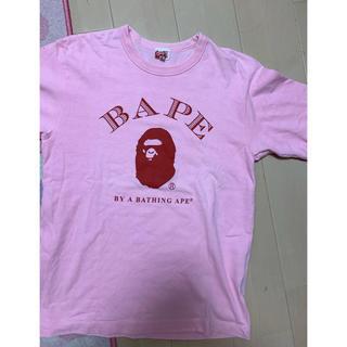 アベイシングエイプ(A BATHING APE)の激安Mサイズ! BAPE猿顔ヘビーTシャツ ピンク(Tシャツ/カットソー(半袖/袖なし))