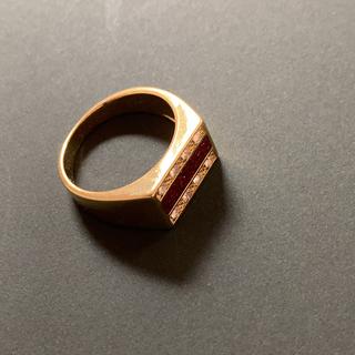 デザインリング 赤ライン ストーンリング 20号(リング(指輪))