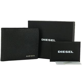 DIESEL - ディーゼル 二つ折り財布 メタルロゴ 型押しレザー