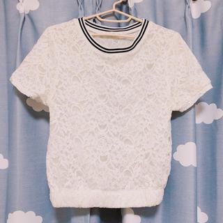 ミスティウーマン(mysty woman)のライン入り総レーストップス (Tシャツ(半袖/袖なし))