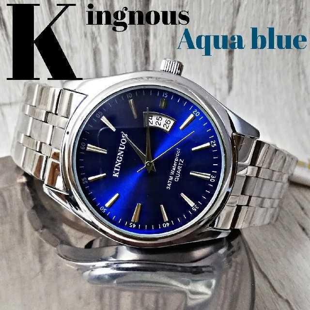 ブランド 偽物 届く 、 KINGNOUS7720アクアブルー 腕時計 メンズ ウォッチ ブルーの通販 by さとこショップ|ラクマ
