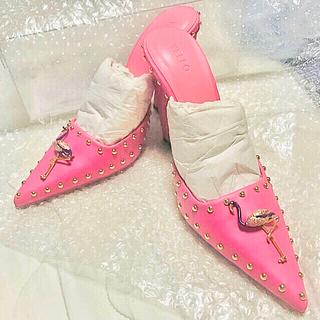 イエローブーツ(Yellow boots)のYELLO yello シューズ 星あや スタッズ ピンク フラミンゴ M (ミュール)