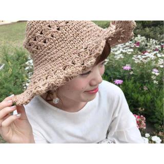 フラワー(flower)のflower scallop lace hat(麦わら帽子/ストローハット)