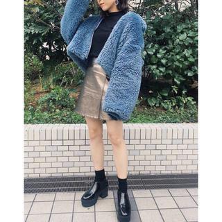 ムルーア(MURUA)の新品タグ付き MURUA メタルラップスカート シルバー(ミニスカート)