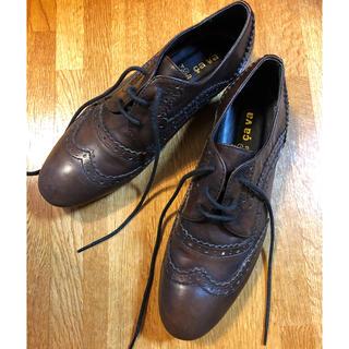 サヴァサヴァ(cavacava)の新品 cavacava サヴァサヴァ 本革 ぺたんこ レースアップシューズ(ローファー/革靴)