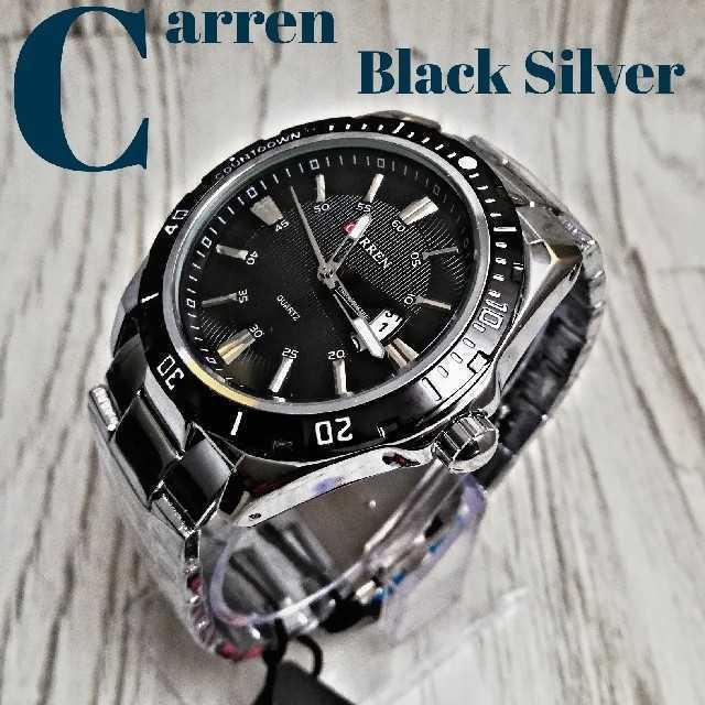 パテックフィリップコピー通販安全 、 【海外限定】CarrenBlacksilver 腕時計 ウォッチ ブラックの通販 by レオさくら's shop|ラクマ