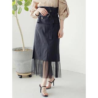 レディメイド(LADY MADE)のLADYMADE トレンチベルトスリットチュールタイトスカート(ロングスカート)