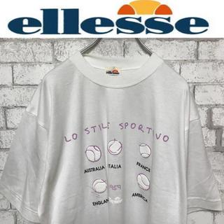 エレッセ(ellesse)の【希少】90s エレッセ テニスボール&国名プリント Tシャツ(Tシャツ/カットソー(半袖/袖なし))