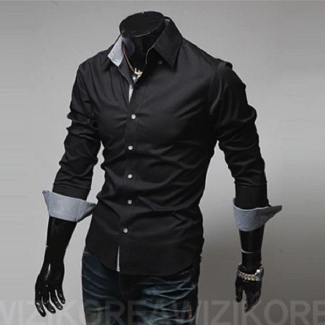 XL メンズ シャツ カッターシャツ インナー Yシャツ カジュアル 黒の ...