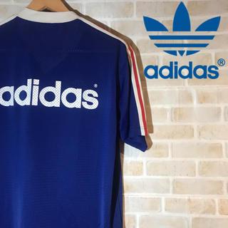 アディダス(adidas)の【90s】古着 adidas アディダス Vネック Tシャツ ビッグロゴ(Tシャツ/カットソー(半袖/袖なし))