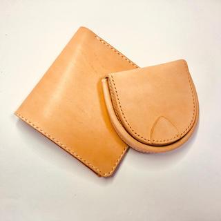薄型二つ折財布と馬蹄型コインケースのセット。生成りのイタリアンレザーを使用(財布)