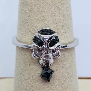 K18WG ブラックダイヤモンド スカルモチーフ リング  BD:0.17ct(リング(指輪))