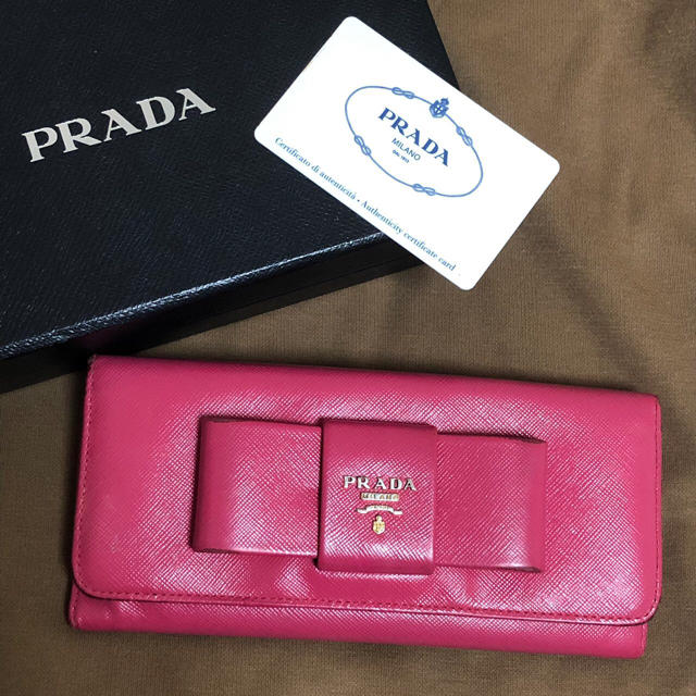PRADA サフィアーノ 長財布 PEONIA ピンク色の通販 by AMANDA|ラクマ