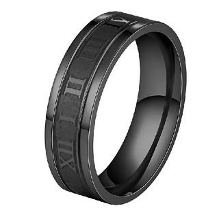 14号*ローマ英数字*ステンレスリング*幅6mm*指輪*ブラック黒(リング(指輪))