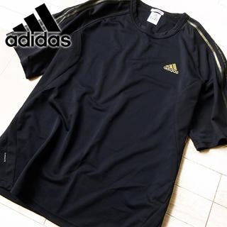 アディダス(adidas)の美品 Oサイズ アディダス メンズ 半袖Tシャツ ブラック×ゴールド(Tシャツ/カットソー(半袖/袖なし))