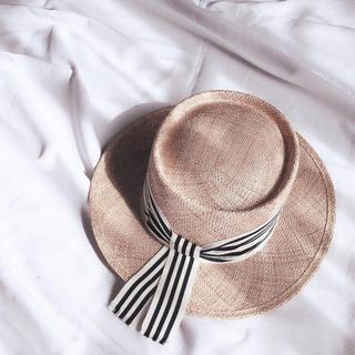 ドゥロワー(Drawer)の値下げ!Chapeau d' O シャポードオー ストライプ カンカン帽 新品(麦わら帽子/ストローハット)