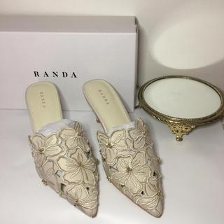 ランダ(RANDA)のランダ  カッティングフラワーミュール 新品 完売品 結婚式(ミュール)