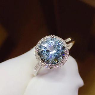 リング k18 天然アクアマリン 天然ダイヤモンド 高品質(リング(指輪))