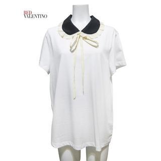 レッドヴァレンティノ(RED VALENTINO)の新品レッドヴァレンティノRED VALENTINO丸襟 Tシャツ 白 #XL(Tシャツ(半袖/袖なし))
