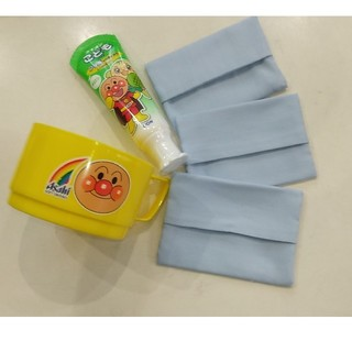 アンパンマン(アンパンマン)の【送料込】新品!アンパンマン歯磨き粉メロン味 コップとミニティッシュケース3個付(歯ブラシ/歯みがき用品)