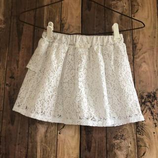 ジーユー(GU)の美品 GU レース リボン スカート オフホワイト 120(スカート)