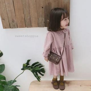 【SALE】(2color) 総柄ドット ロングワンピース 子供服(ワンピース)