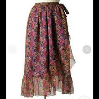 ドゥロワー(Drawer)のフラワープリント シルクスカート 花柄 ラップスカート(ひざ丈スカート)