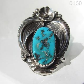 ターコイズ シルバー インディアンジュエリー 純銀 フラワー リーフ18号リング(リング(指輪))