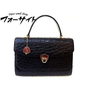 JRA オーストリッチ■ガンチーニ デザイン 金具 ブラック ハンドバッグ(ハンドバッグ)