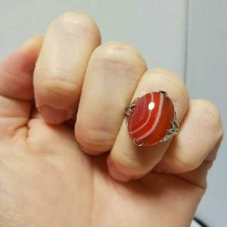 鑑別済み  瑪瑙 アンティークリング  メノウ 天然石(リング(指輪))