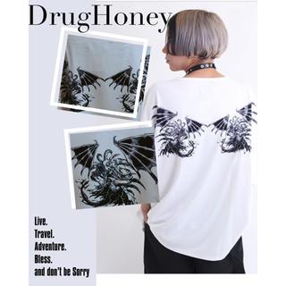 ファンキーフルーツ(FUNKY FRUIT)の【ゲリラSALE 】刃物狂いプリントTシャツ(白色)(Tシャツ(半袖/袖なし))