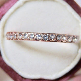 即購入OK●ラインストーンのピンクゴールドマット加工華奢リング大きいサイズ(リング(指輪))