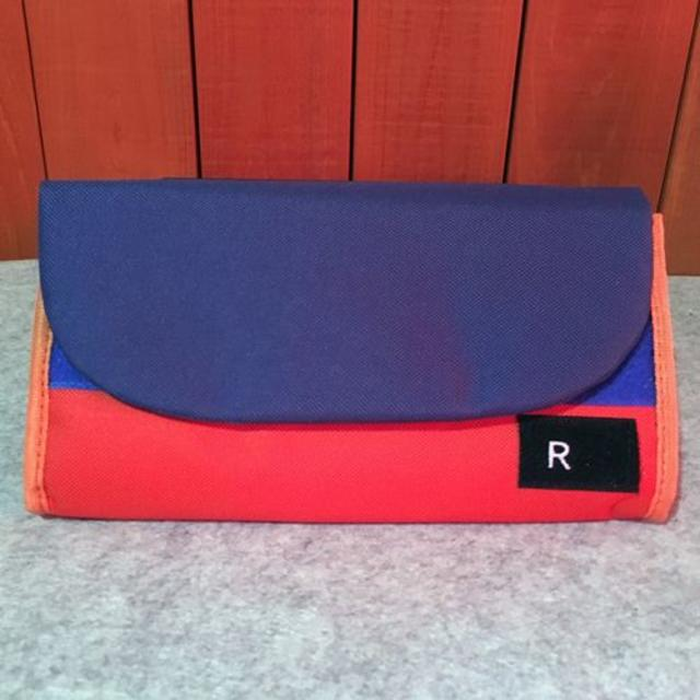 RURSUSバイカラーお財布ポーチ 2WAY ブルー/オレンジ 多収納の通販 by FINE's shop|ラクマ