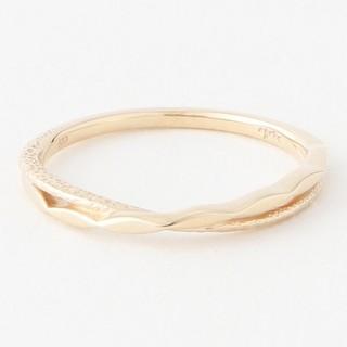 アガット(agete)のアガット K10 リング 5号 2連 レイヤード ゴールド スクリュー 美品(リング(指輪))