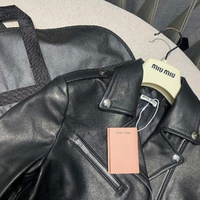 miumiu(ミュウミュウ)のMIU MIU  ミュウミュウ レディース レザージャケット 美品  レディースのジャケット/アウター(ピーコート)の商品写真