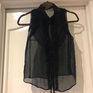ルシェルブルー(LE CIEL BLEU)のみみ様*LE CIEL BLEU*黒 ノースリーブシャツ(シャツ/ブラウス(半袖/袖なし))