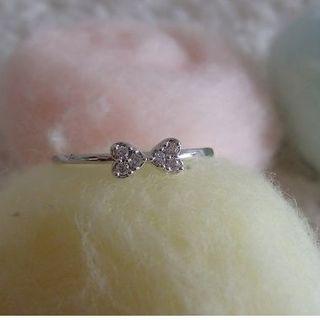 #AO ♥キラキラハートがリボンになった可愛い細幅リング♥17号-(リング(指輪))