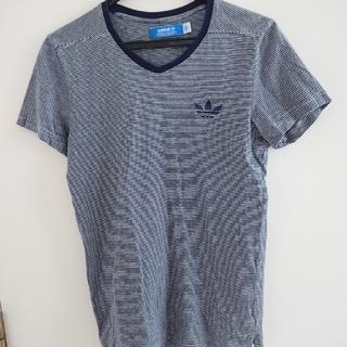 アディダス(adidas)のadidas originals ボーダー Vネック  Tシャツ S(Tシャツ/カットソー(半袖/袖なし))