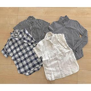 ジーユー(GU)のGU チェックシャツ 白シャツ 半袖 長袖シャツ 1枚420円(シャツ/ブラウス(半袖/袖なし))