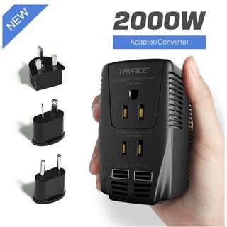 海外旅行用変圧器 変換プラグ付き 変換器 2000W 10A+ 2つUSBポート(変圧器/アダプター)