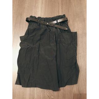 マカフィー(MACPHEE)のマカフィー 膝丈スカート 黒 ベルト付(ひざ丈スカート)