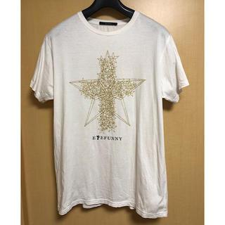 アイファニー(EYEFUNNY)のEYEFUNNYアイファニーQnineダイヤモンドスターラメプリントTシャツ白M(Tシャツ/カットソー(半袖/袖なし))