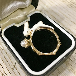 白うさぎとパールのリング 指環 指輪 インポート(リング(指輪))