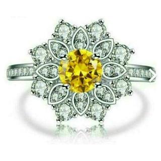 18KWGP AAAcz yellowdiamond color パヴェリング(リング(指輪))