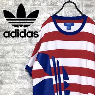 アディダス(adidas)の【激レア】アディダスオリジナルス トレフォイル ビッグロゴ ボーダー Tシャツ(Tシャツ/カットソー(半袖/袖なし))