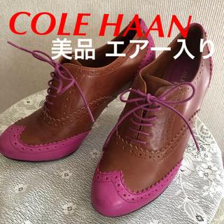 コールハーン(Cole Haan)のCOLE HAAN パンプス 靴 革 エアー 茶 ピンク 紐 美品 ハイヒール(ハイヒール/パンプス)