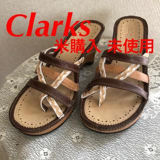 クラークス(Clarks)のClarks サンダル 靴 米購入 未使用 美品 S 茶 革 可愛い レア(サンダル)